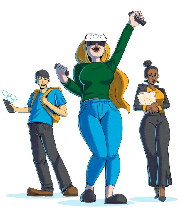 Ilustração de um grupo de jovens estagiários utilizado VR